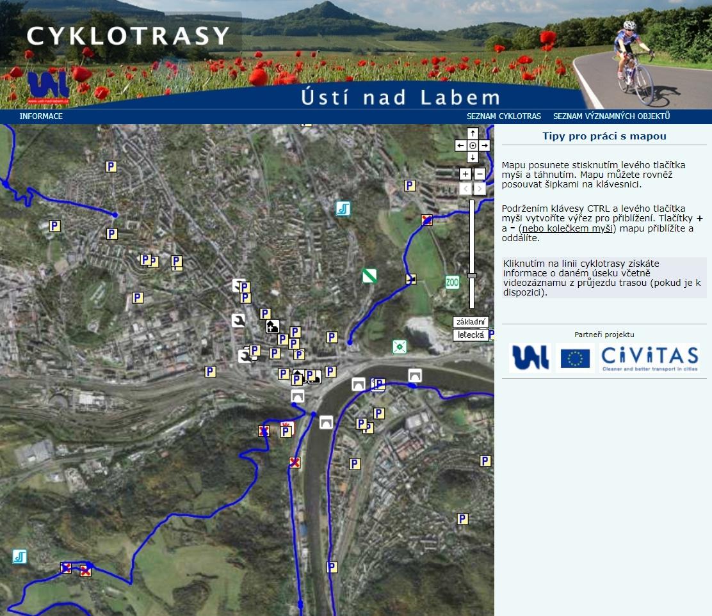 Cyklistická mapa města Ústí nad Labem